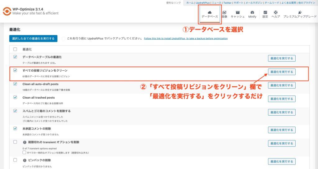 WP-Optimizeの導入画面②