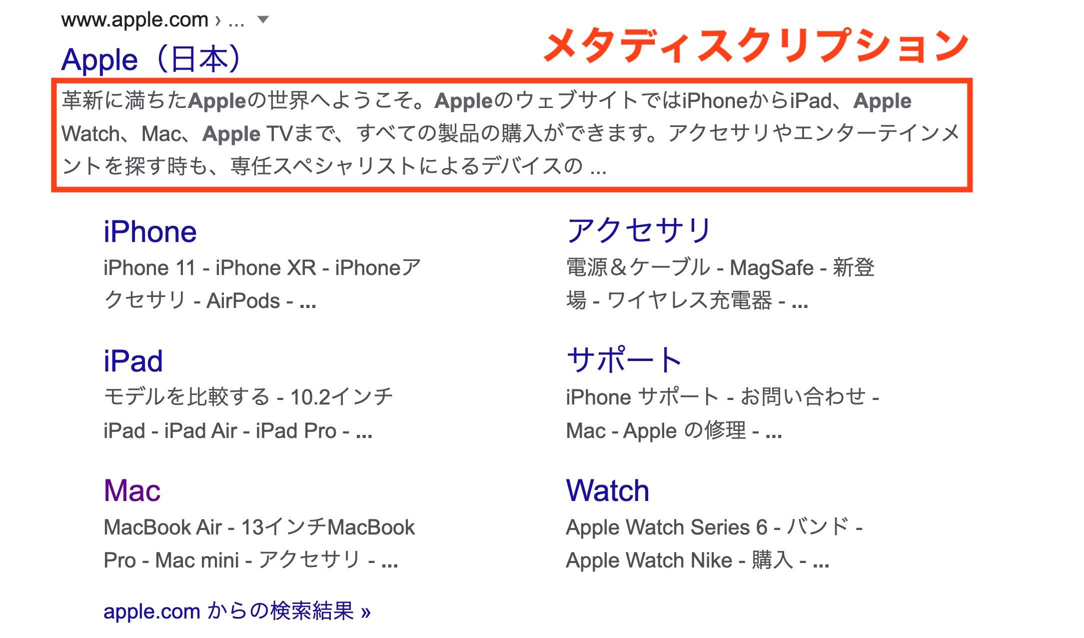 Appleのメタディスクリプション